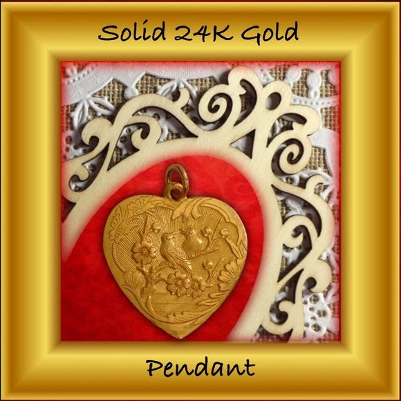 "HP24K solid Gold Heart pendant Bird motif This handmade piece consists of Pure 24K Gold = 999.9% The piece is stamped on the outer margin ""999.9"" on the side with 2 Chinese characters (I cannot read Chinese but am told it means ""Happiness, Joy""). Outer margins on both sides consist of 2 butterflies & flowers; in the center are 2 birds on a branch of flowers the other side with 2 Chinese characters.   K=Karat or ""fineness"" of Gold; 999.9 refers to fineness of Gold in parts per 1000.   24K is…"