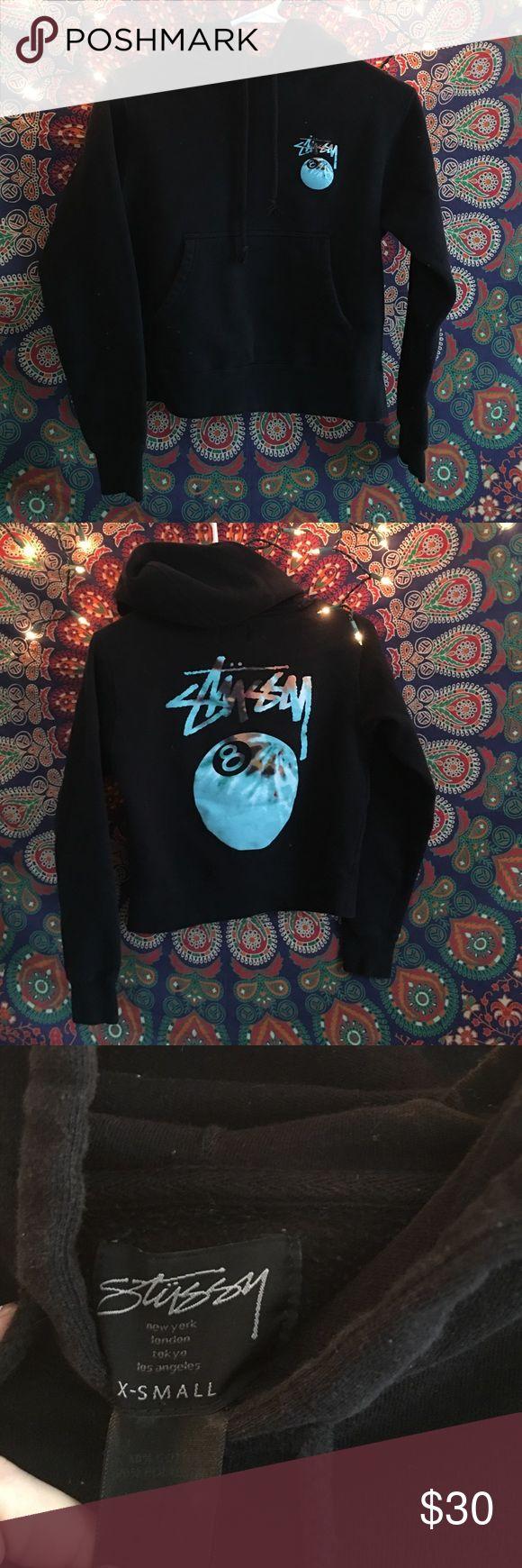 Stüssy cropped hoodie size XS Stüssy cropped black/tie dye hoodie size XS Stussy Tops Sweatshirts & Hoodies