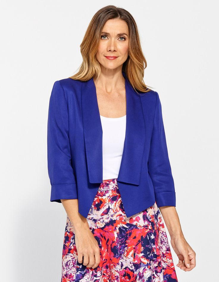 Jacqui E - blue shawl lapel jacket