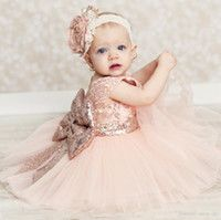 Wholesale Baby Infant Toddler Birthday Party Dresses Blush Pink Rose Gold Sequins Bow Lace Crew Neck Tea Length Tutu Wedding Flower Girl Dresses