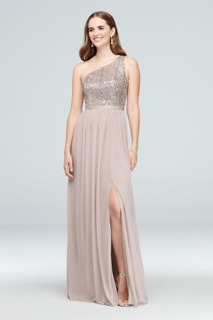 3edccd71b95 This long bridesmaid dress features a glittering sequin bodice with a  ribbon-defined waist