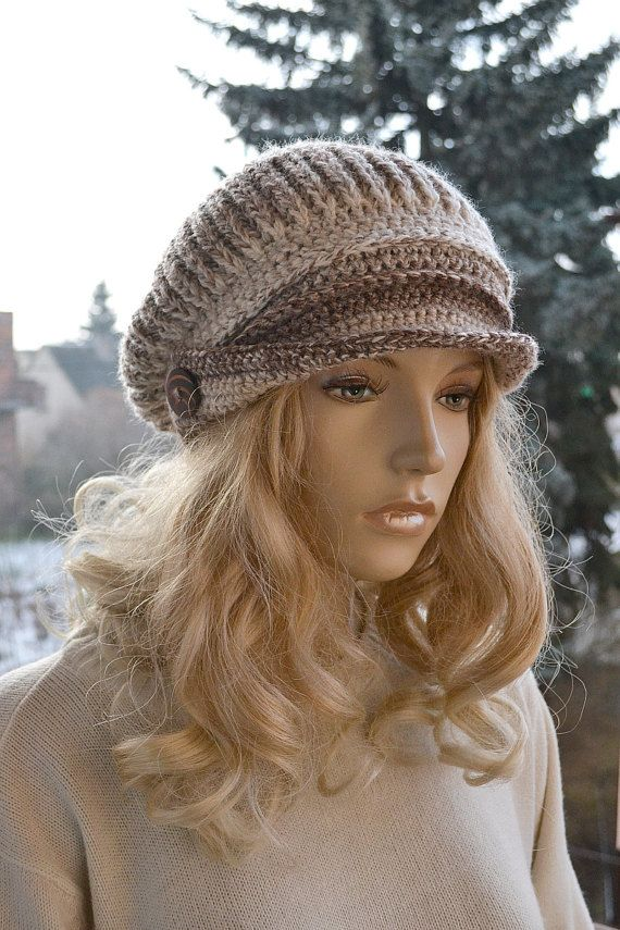 Beige Crocheted  PEAKED CAP beanie Slouchy Winter by DosiakStyle