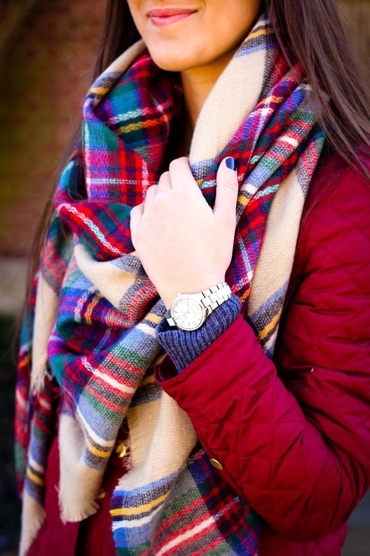 quilted jacket, plaid blanket scarf, plaid scarf, fall plaid scarf, plaid♡... | Street Fashion