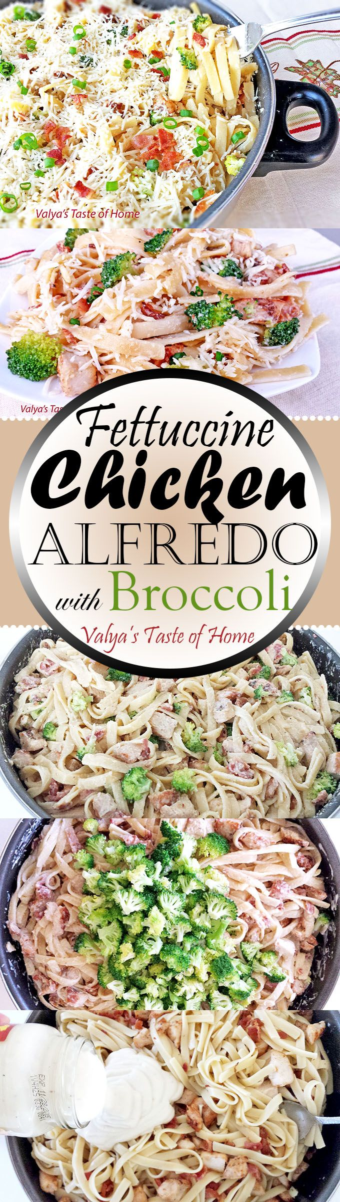 This recipe is quick and easy to do but the flavor of it is spectacular. Lightly seasoned grilled chicken breast strips with a little fried bacon and Steamed Broccoli in creamy Alfredo sauce, tossed with Parmesan cheese. Very simple and easy to prepare dinner that will put a smile on many (if not all) faces at your dinner table.