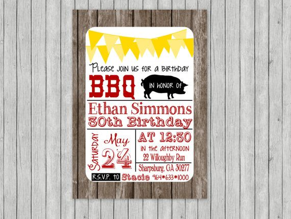 BBQ Pig Roast Birthday Invite in Red Black Yellow Rustic ...