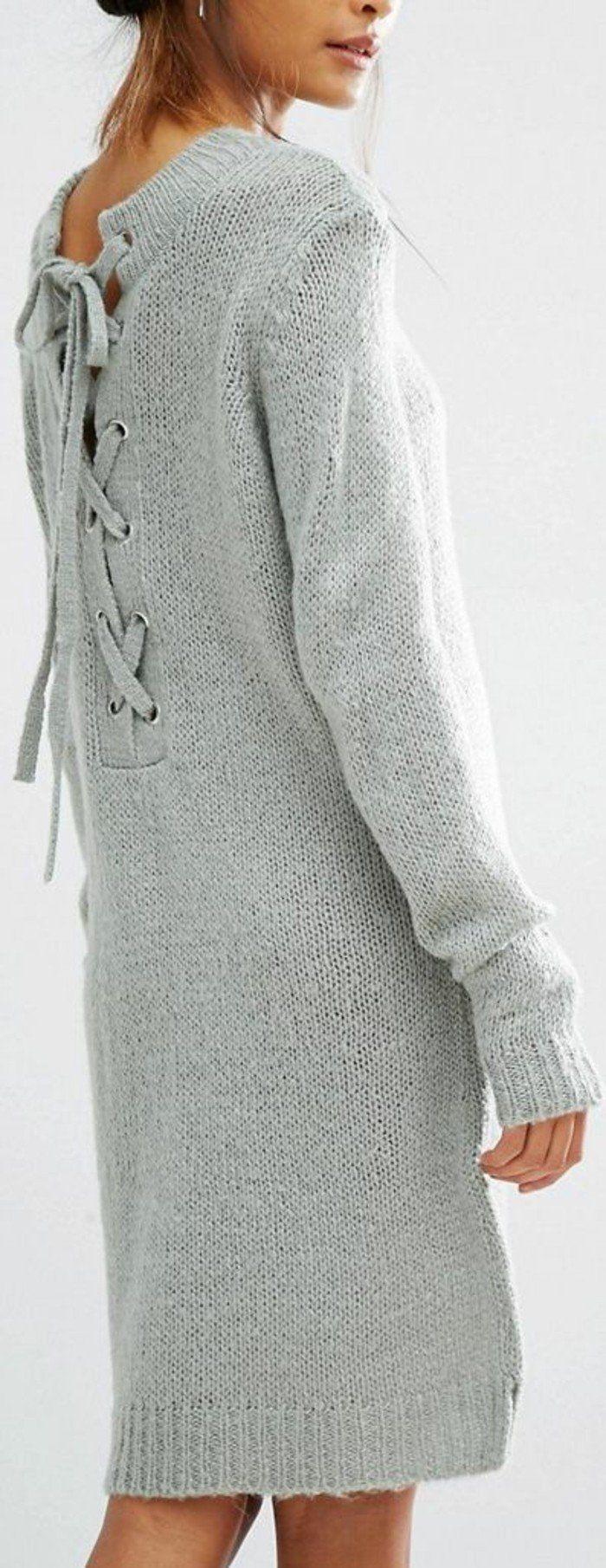 robe en laine femme gris sablé avec des lacets en tricotage au dos