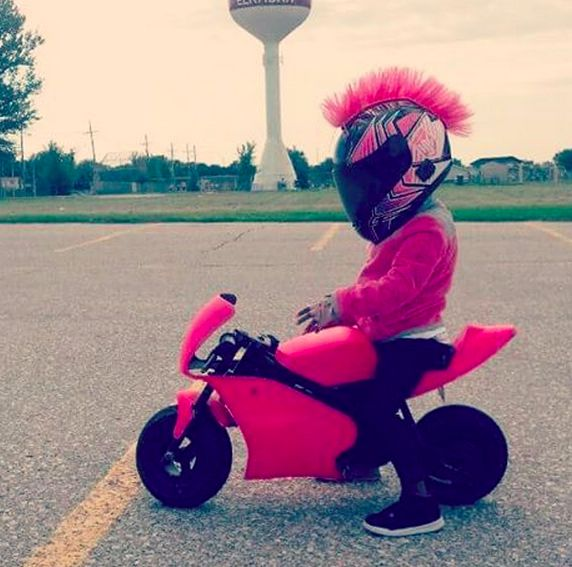Girls Pink Motorcycle Helmet with mohawk
