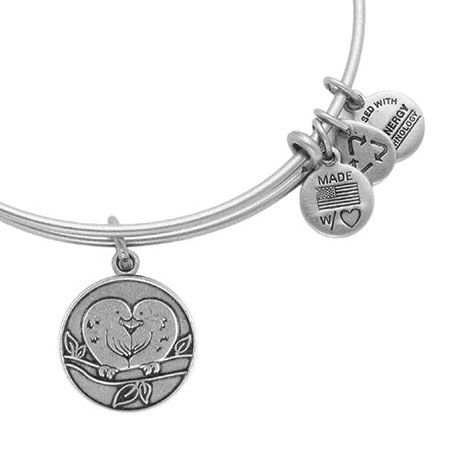 Alex and Ani Lovebirds Heart Russian Silver