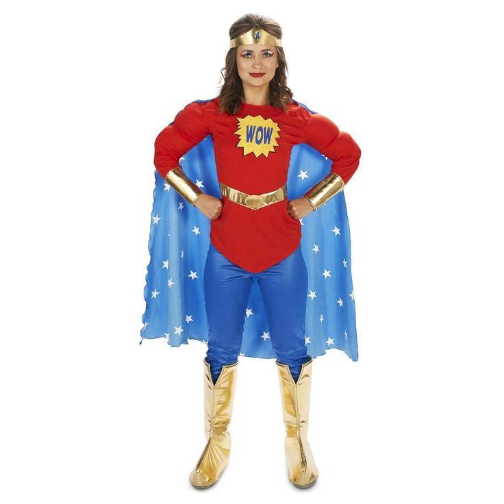 Pop Art Comic Super Woman Wow with Leggings Women's Costume X-Large, Size: Xl, Multi-Colored