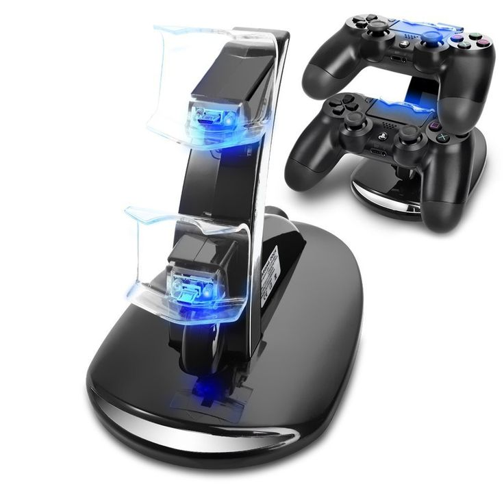 Dual stand holds 2 controllers able to be charged simultaneously! Rapid charging! It is USB powered, so it can plug into your PC or PlayStation 4! Charging time is approximately 2 hours! LED lights wi