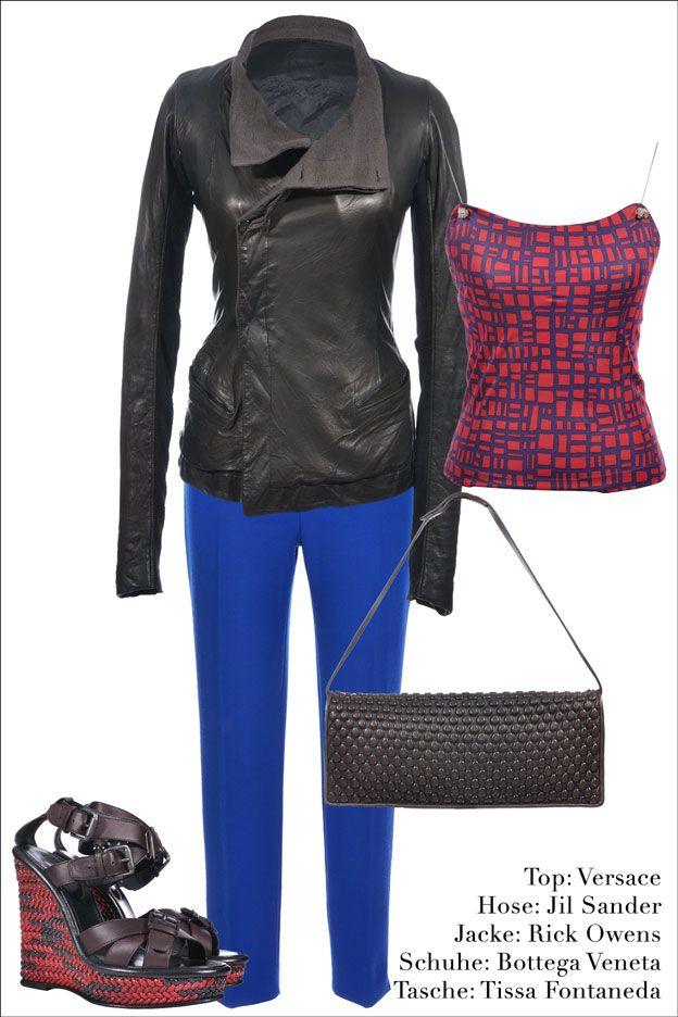 Lederjacke: #RickOwens  Top: #Versace  Hose: #JilSander  Schuhe: #BottegaVeneta  Tasche: #TissaFontaneda