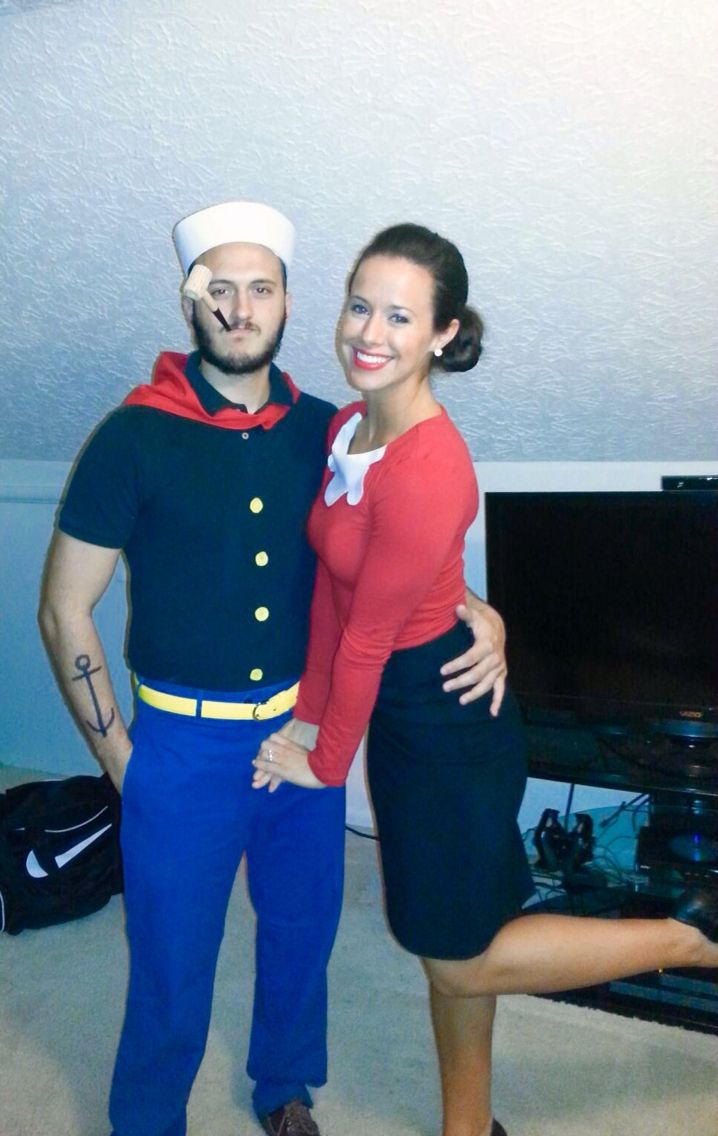 DIY Halloween costume for adults - Popeye the Sailor Man and Olive Oyl. We found all clothing items at Goodwill, and we purchased felt from Hobby Lobby to add his buttons and my collar.