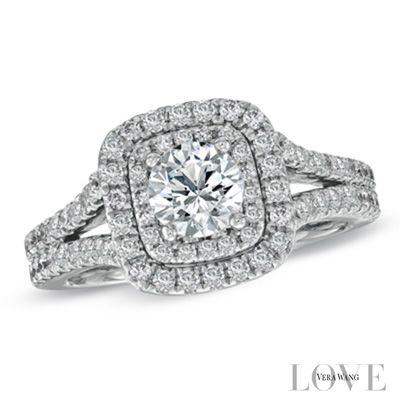 Vera Wang LOVE Collection 1-1/2 CT. T.W. Diamond Frame Split Shank Engagement Ring in 14K White Gold - View All Rings - Zales