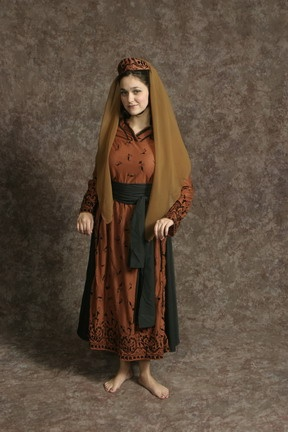 $15.00 Costume Rental  Brother's Wife Brown  brown overdress, black petticoat, black sash, pumpkin hat (2 avail.)