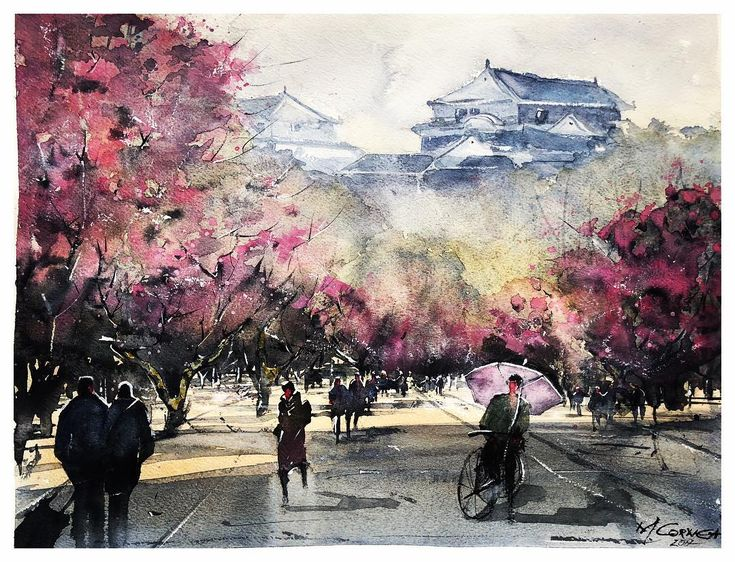 Matsuyama  #watercolor  #watercolorpainting #artoftheday #artist #art #instaart #acuarela #painting #cityscape #streets #createexploretakeover #matsuyama #drawings #illustration