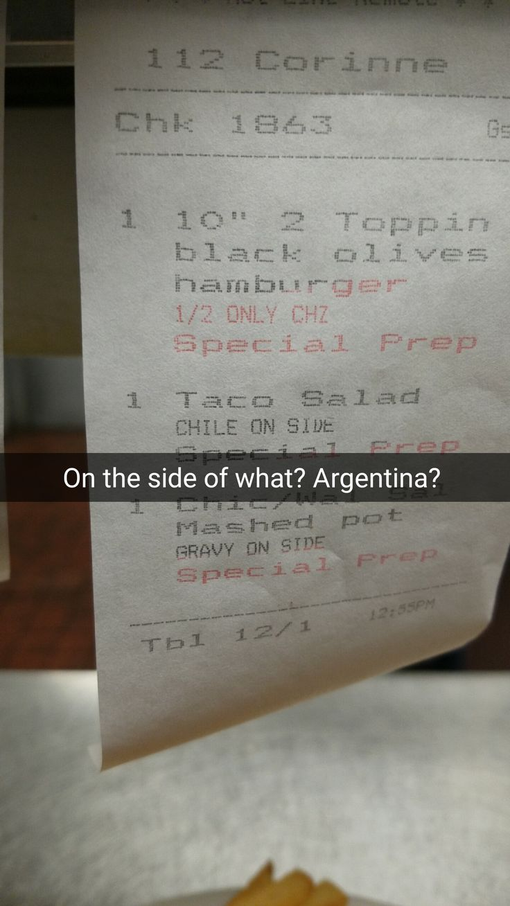 I started a snapchat log making fun of a server who had trouble spelling. This is still my favorite. #kitchenconfidential #SXSW #sunshine #summer #streetfood #NoReservations #culinary #kitchen #home