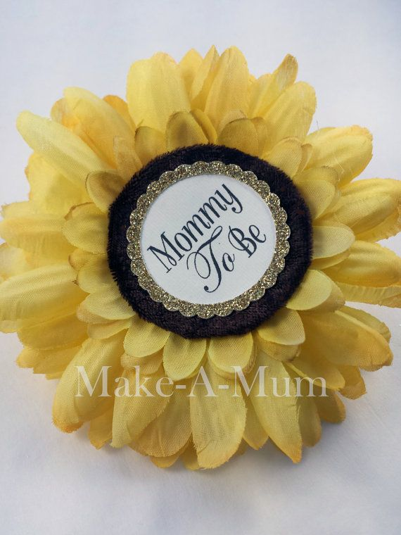 Sunflower Baby Shower corsage Baby Shower favors Mommy by MakeAMum
