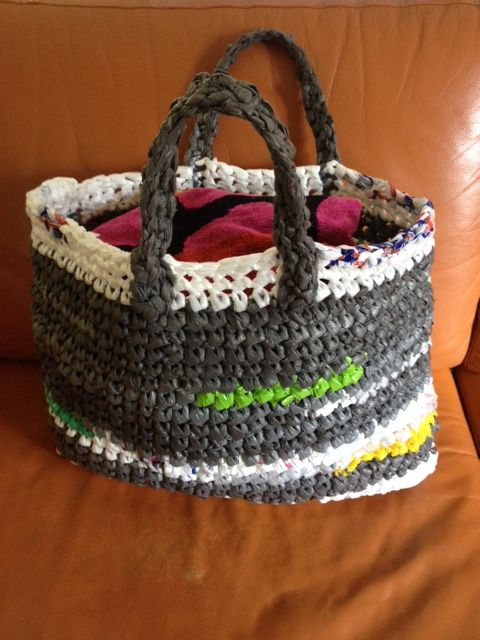 Basket crocheted from Recycled Plastic Shopping bags