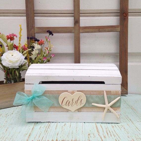❶Wooden Card Box ○ White worn distressed dome shaped trunk ○ Decorated with burlap & organza sashes (in the color of your choice, below) and
