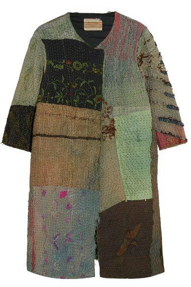 By Walid | Manteau à empiècements brodés en soie texturée | NET-A-PORTER.COM