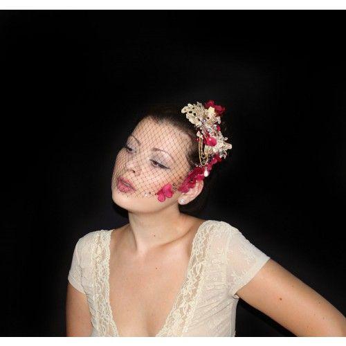 Crystal Veil Fascinator #accessories #fashion #headpiece #fascinator #gothic #headdress #hairstyle #wedding #bridal #crystal #glamour #chic #millinery #romantic #fantasy #flowers #swarovski #collection #fairy #weddings #look #weddingveil