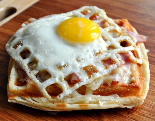 Waffle Iron Egg Sandwich / Even better, how about a waffled fried egg breakfast sandwich?