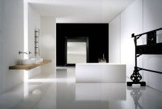 Luxury In Minimalist Black And White Bathroom Filled With Wooden Floating Shelf And White Bathtub