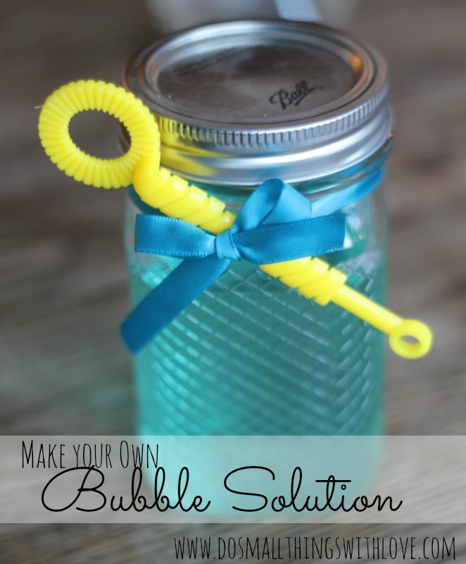 Homemade Bubble Solution  6 cups water 1 cup corn syrup  2 cups reg strength Joy dish detergent