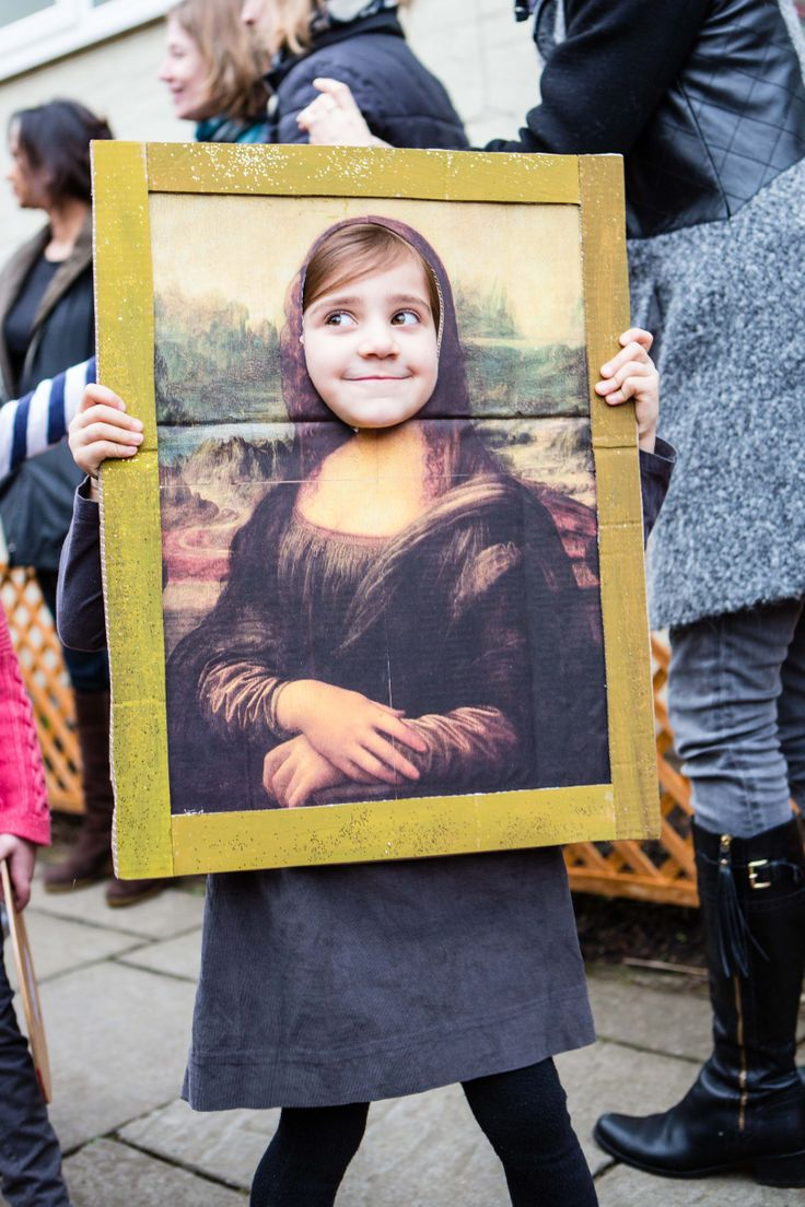Dressing up. Oona becomes the Mona Lisa celebrating French Day at school.