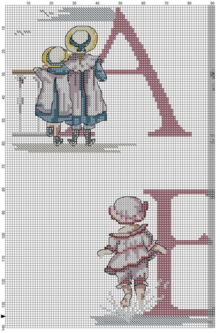 Cross stitch / Point de croix / Punto cruz / Punto croce All Our Yesterdays ABC Sampler / abecedaire / abecedario / alfabeto. Chart with color blocks & symbols