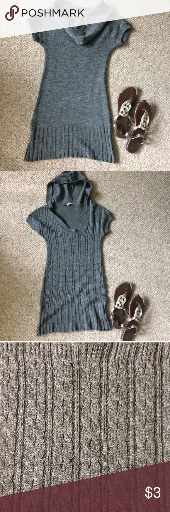 "Grey cableknit hoodie sweater dress Short sleeves. Scoopneck. Not super chunky but still very cozy & warm! Can double as a coverup for the beach or a casual outing. Cannot model. Length: 29"". Tag states Small. Boutique, not F21! ✨MAKE AN OFFER✨ if I don't accept here on Posh because of their fees, then I'm also on D/epop, V/inted or can go direct via 🅿️🅿️ (NOT F&F!)... do NOT buy at the $1 price or I'll cancel the order! Forever 21 Dresses Mini"