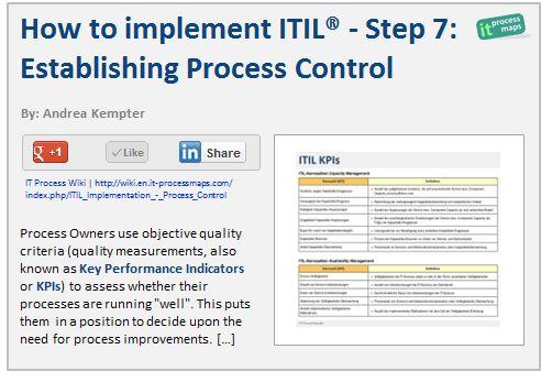 How to implement ITIL: Step 7 -- Establishing Process Control. -- [http://wiki.en.it-processmaps.com/index.php/ITIL_Implementation_-_Process_Control]
