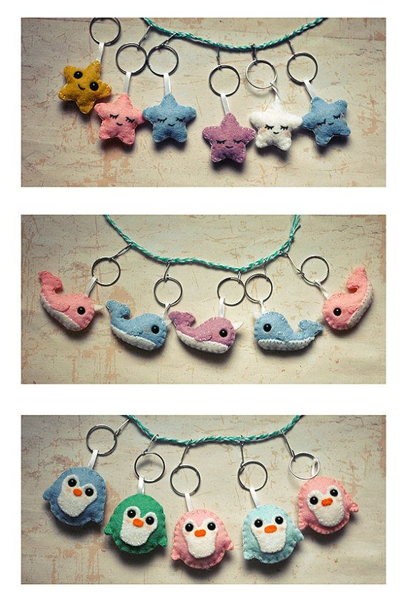 Handsewn Star, Narwhal, and Penguin Wool Felt Keychains on Etsy, $11.50