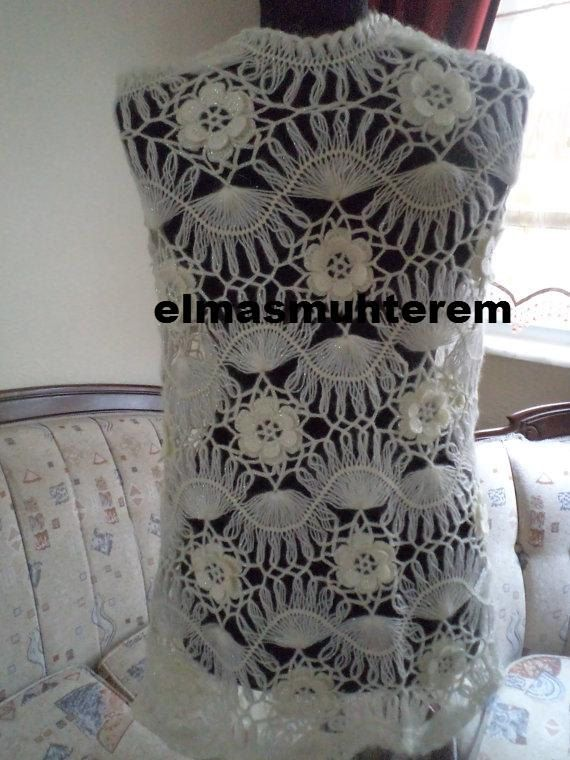 crochet bridal sawl / hairpin crochet sawl / by elmasmuhterem, $90.00