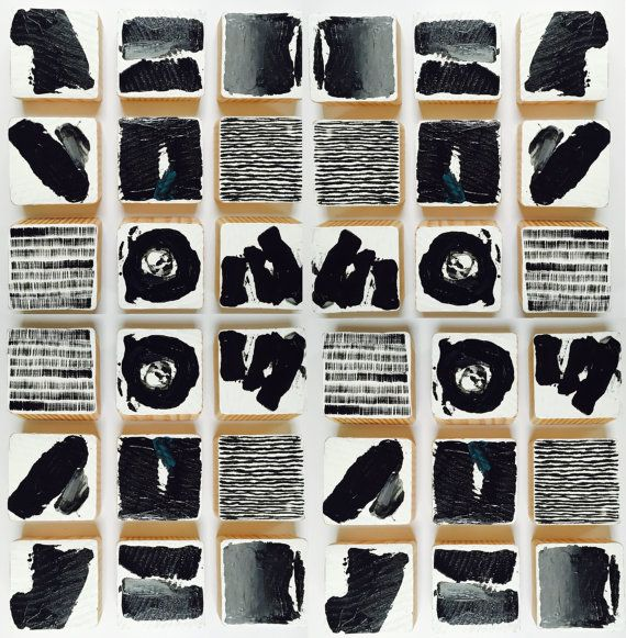 Original Painted Wood Block Wall Art | Abstract Painting Modern Wall Sculpture | Commercial Art Installation | Black & White