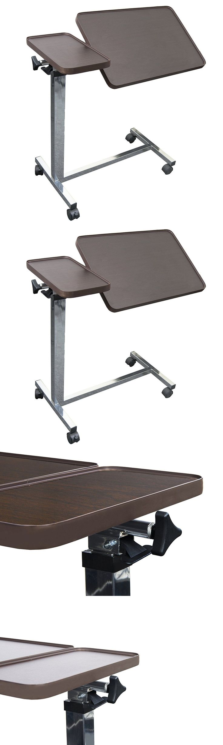 Overbed table food tray non tilt top bed hospital adjustable rolling - Bed And Chair Tables Eva Medical Adjustable Tilt Top Overbed Bedside Table For Home And