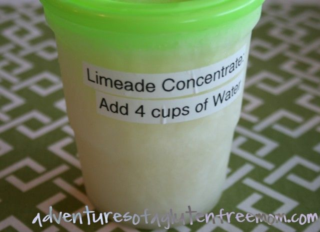 Limeade Concentrate - make it sugarfree by substituting 1-1/4 c. Splenda for the sugar.