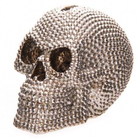 Tirelire Crâne Sertie Argentée 9cm
