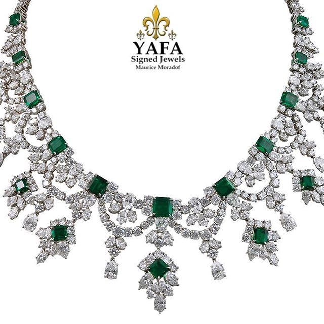 Let's kick off the week with a timeless classic - Columbian emerald and diamond necklace from #HarryWinston! Available now from #YaffaSignedJewels. #ForSale #Vintage #VintageJewelry #EstateJewelry #AntiqueJewelry #SignedJewelry #collect #invest #luxury #highjewelry Yafa Signed Jewels has been buying and selling authentic signed jewelry since 1985. All pieces are guaranteed authentic. For price and purchase inquiries only, please contact us at info@yafajewelry.com or 212-719-9828……www.yaf...
