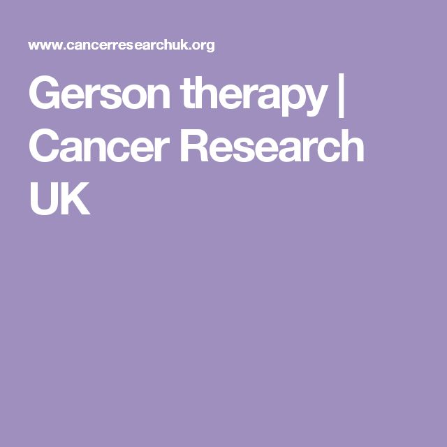Gerson therapy | Cancer Research UK