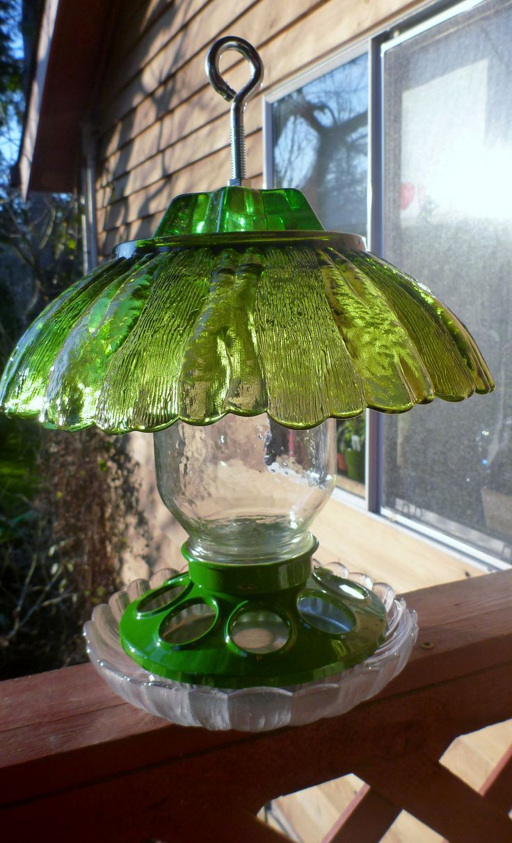 26 best images about glass bird feeders on pinterest for Garden art from old dishes