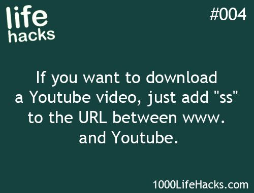 """If you want to download a Youtube video, just add """"ss"""" to the URL between www. and Youtube."""