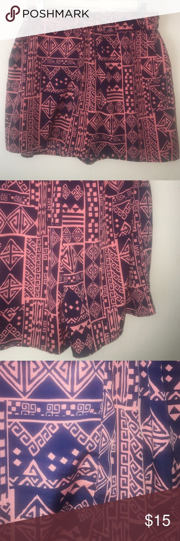 Aztec Printed Shorts Love Culture brand. Adorable loose flowing shorts perfect to dress up or dress down any occasion. The print is of blue and coral which will compliment any skin tone Love Culture Shorts