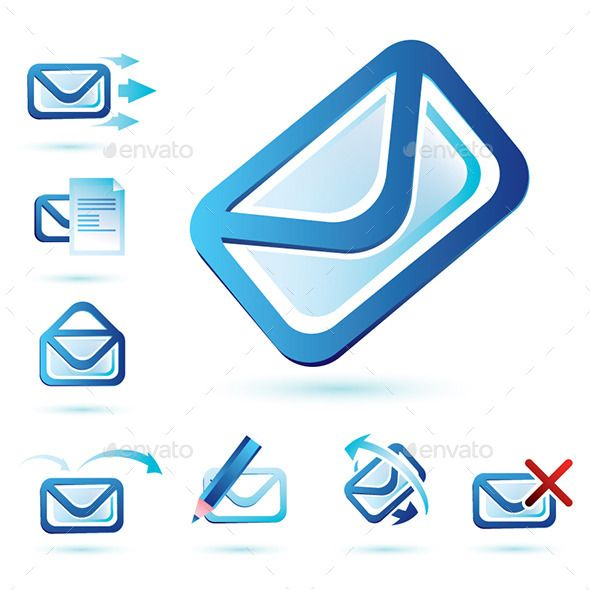 Email Icons Collection in Two Versions - Red and Blue
