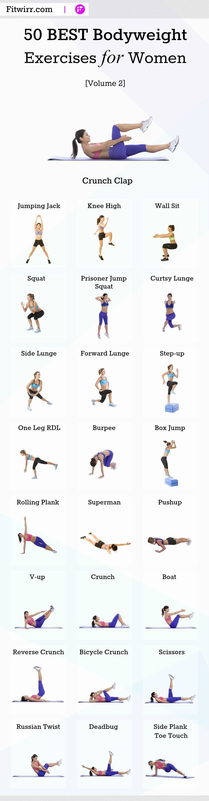 50 best bodyweight exercises for women to get in shape at home.