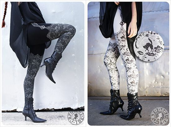 Night Lace Leggings - lacy illustrations of moons, stars, spiders, bats, owls, flowers, and cats! perfect for Halloween!