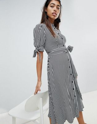 dcc720ed8d014 Mango Stripe Tie Waist Detail Shirt Dress