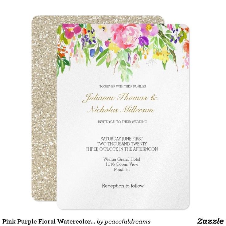 Pink Purple Floral Watercolor Gold Sparkle Wedding Card Pink - Sample Address Book Template