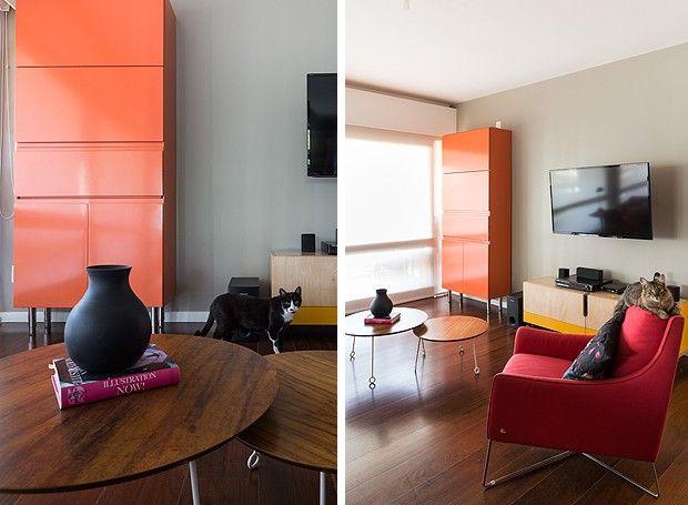Os gatos Filó e Félix curtindo a sala de estar, que tem móveis coloridos, como o armário laranja da Securit (Foto: Marcelo Donadussi/Fotografia de Arquitetura)