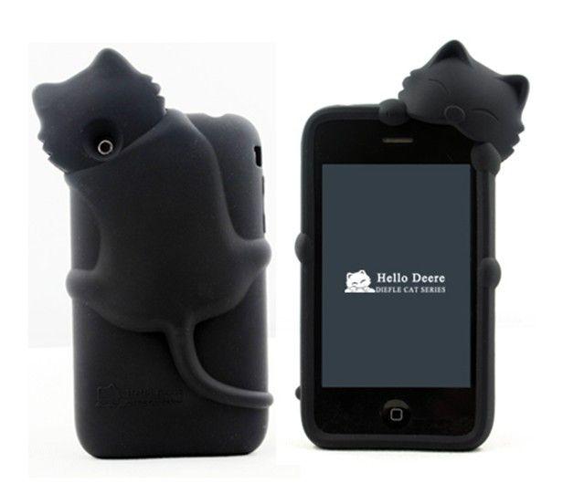 Hot 3D Hide and Seek gato suave del silicón de la contraportada para el iPhone 3 3 G w / enchufe del polvo a prueba de golpes cáscara del teléfono móvil en Cajas del teléfono de Los teléfonos móviles y Las Telecomunicaciones en AliExpress.com | Alibaba Group